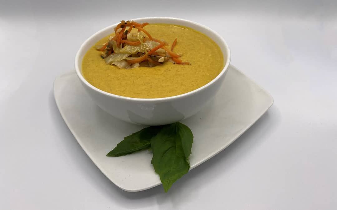 Curry Squash Soup with Braised Cabbage & Mushroom