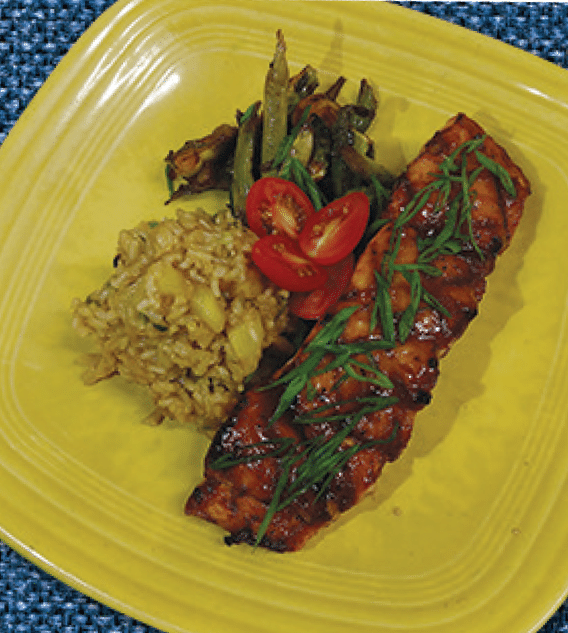 Teriyaki Grilled King Salmon With Green Vegetable Medley & Pineapple Rice