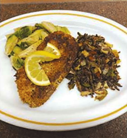 Hazelnut Crusted Ling Cod with Wild Rice Pilaf & Honey Glazed Brussel Sprouts